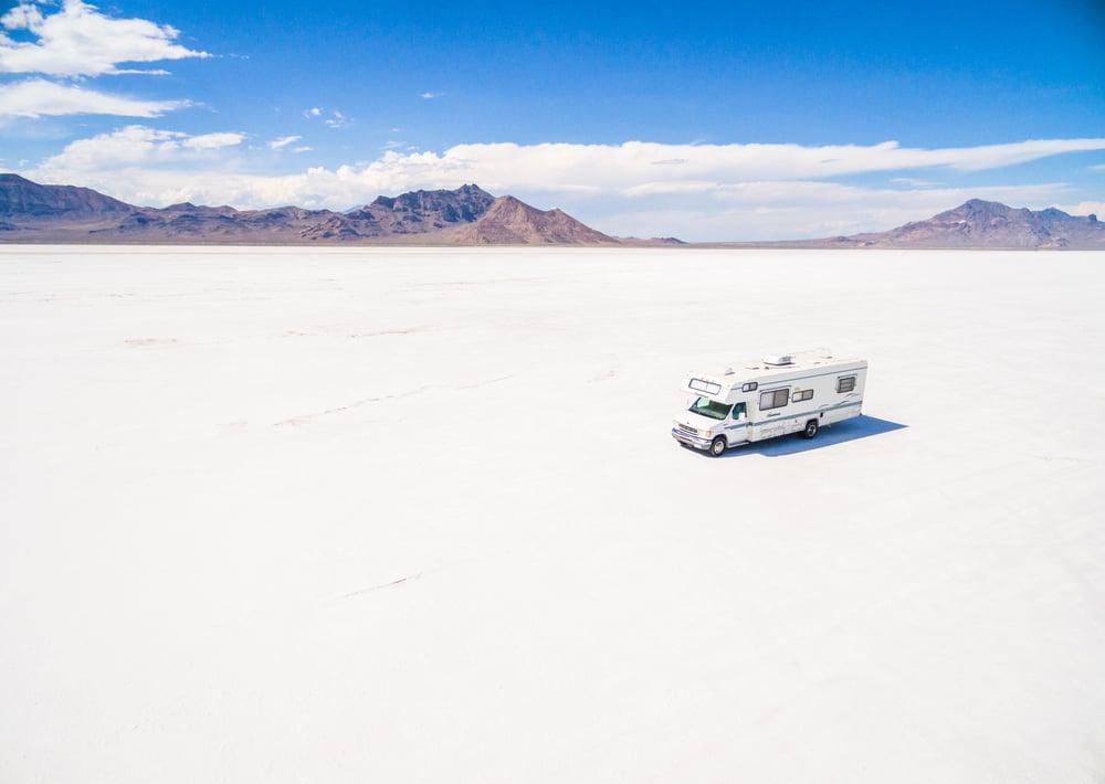 Driving motorhome on Bonneville Salt Flats, Utah(Arina P Habich)s