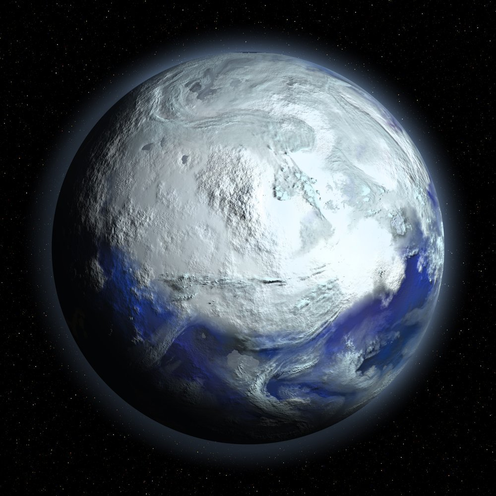 An artistic representation of a frozen Earth (Credit: Discovod/Shutterstock)