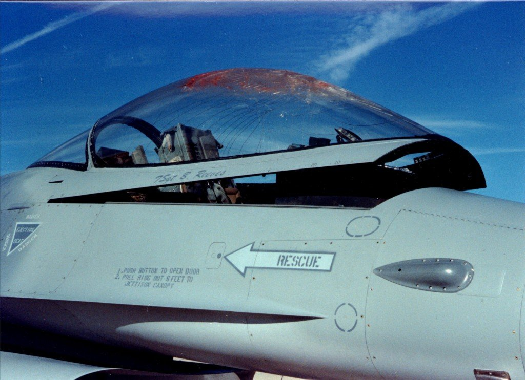 cracked canopy of a F-16 after a bird strike