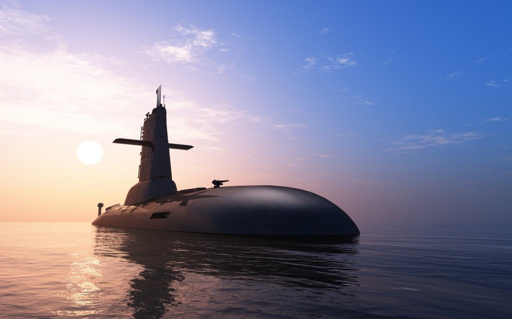 Submarine against evening sky