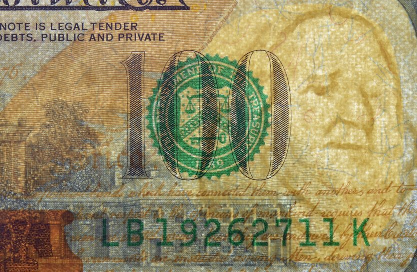 Watermark on redesigned new hundred dollar bill. One of paper securities(Darq)s