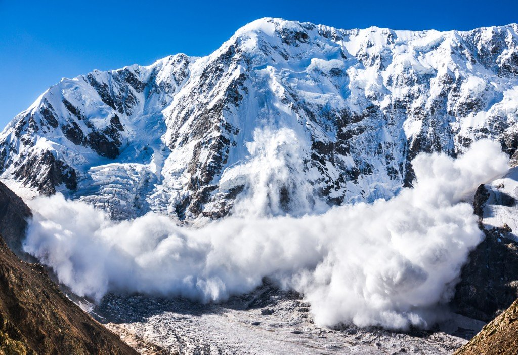 Power of nature. Avalanche in the Caucasus