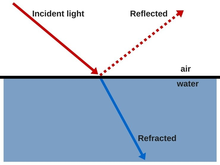 light reflection refraction through water