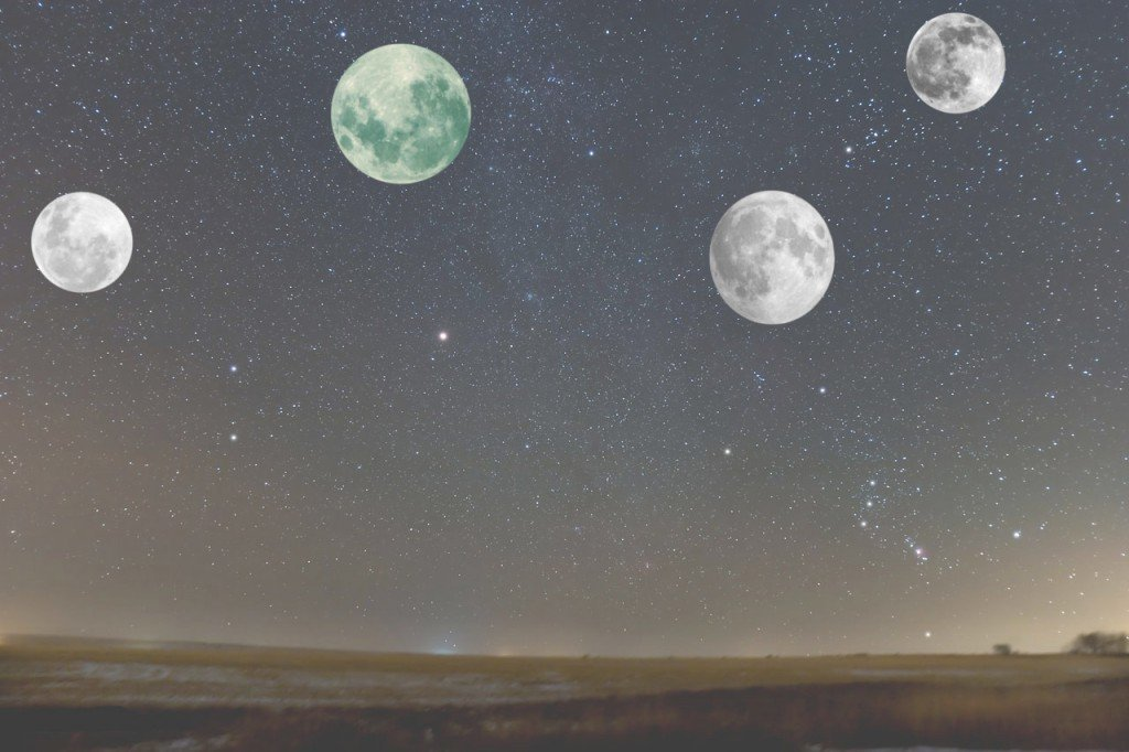 Multiple moons in the night sky