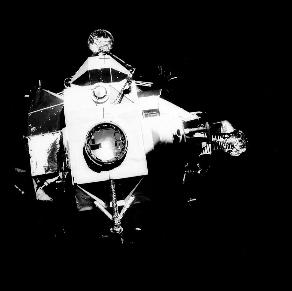 Apollo 13 Lunar Module after separation from CSM