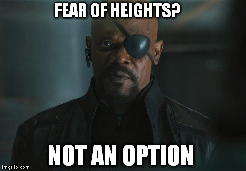 fear of heights not an option meme