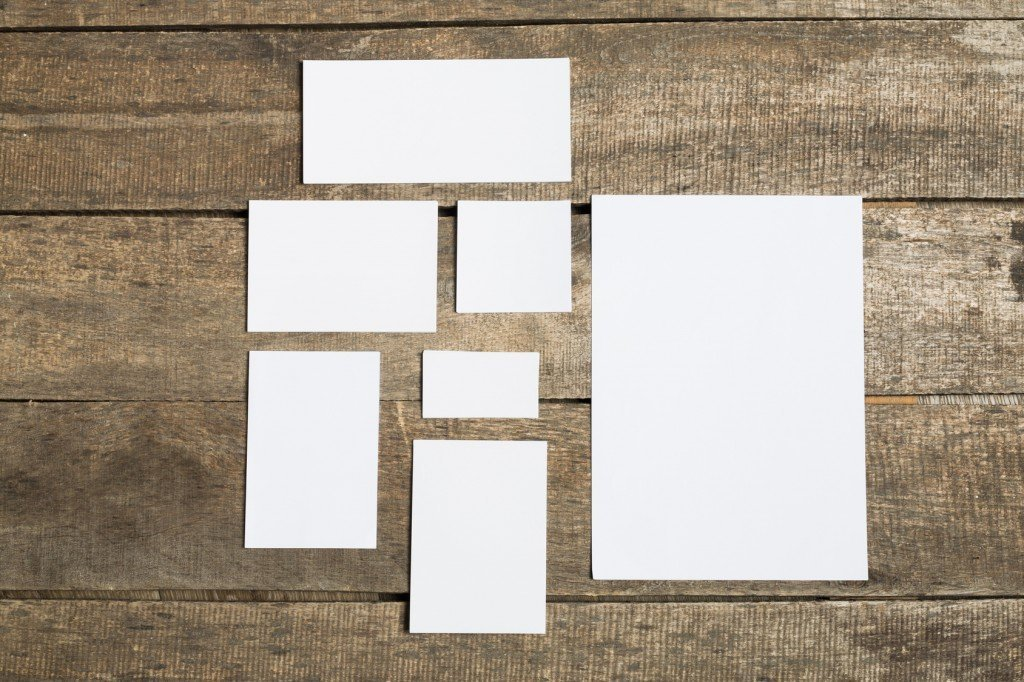 sheets of paper of different sizes
