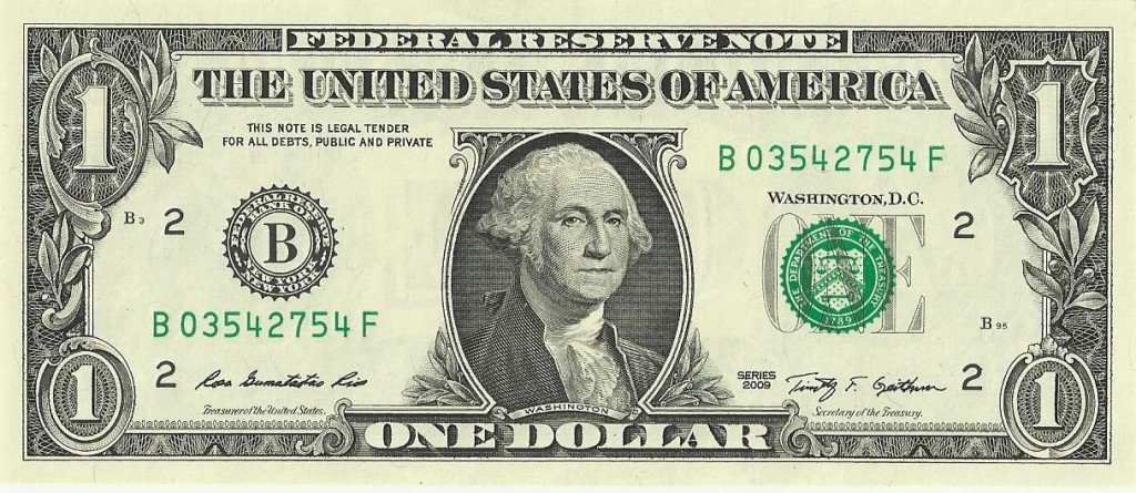 1 dollar note bill