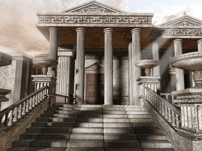 Ancient Greek temple with stairs and columns(Unholy Vault Designs)S