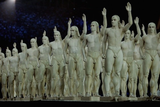Ancient Greek statues seen during the opening ceremony of the Athens 2004 Summer Olympic Games (Photo by Jamie Squire/Getty Images)