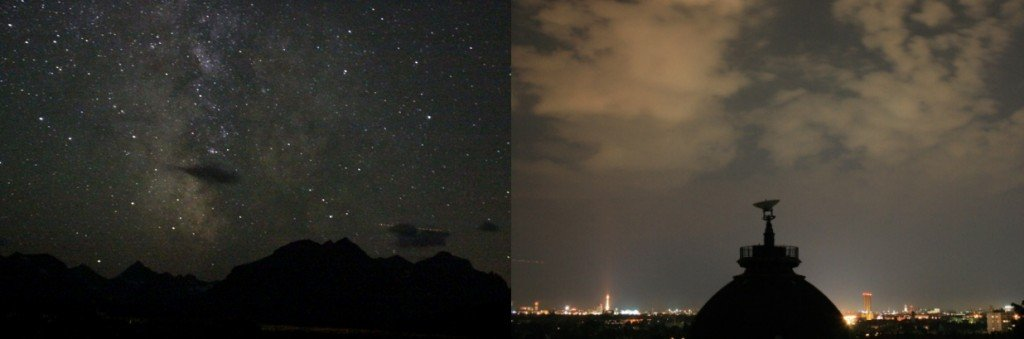night sky in village versus city