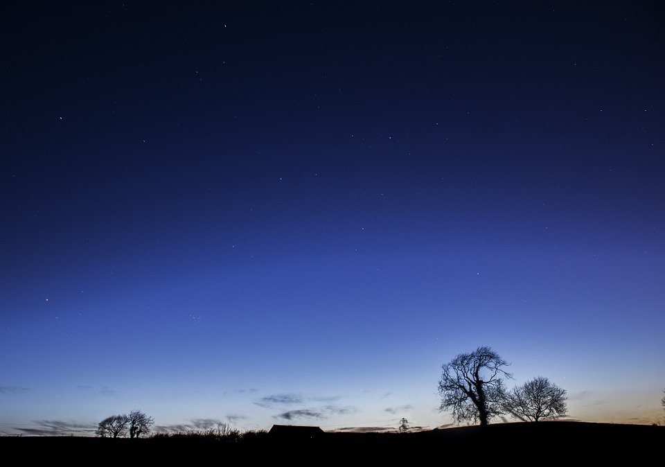 night sky with a bluish hue