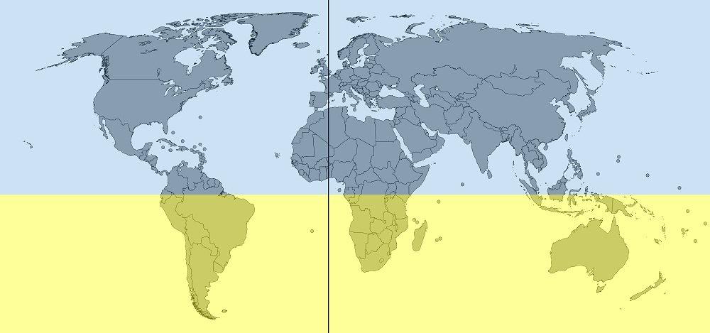 northern hemisphere and southern hemisphere