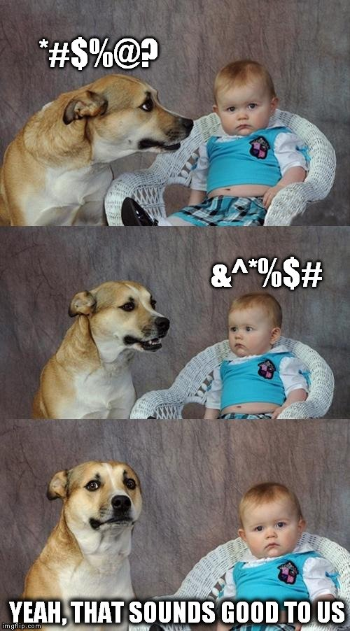 dog and baby talking meme