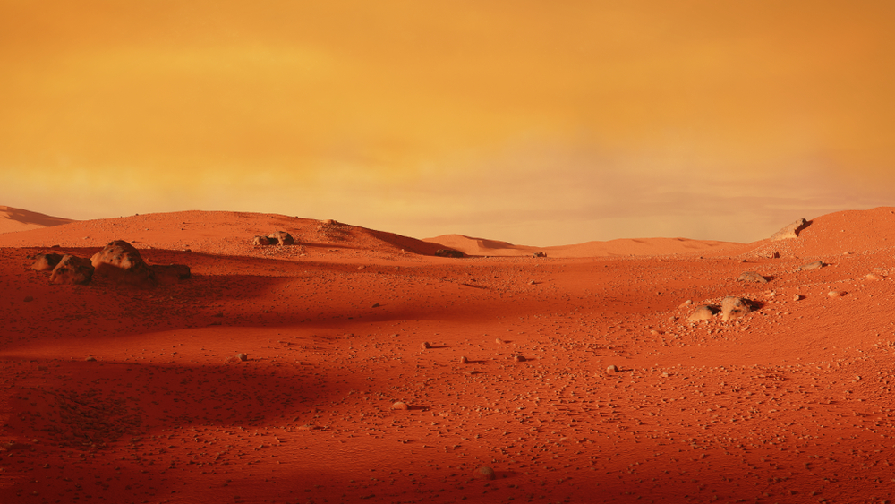 landscape on planet Mars, scenic desert scene on the red planet (3d space illustration)(Dotted Yeti)S