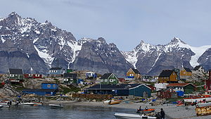 Ukkisissat, one of Greenland's villages. Population: 170. And rapidly decreasing. Source: Wikipedia
