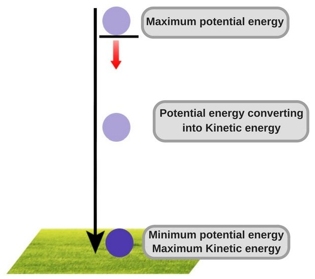 Ball falling to the ground potential energy kinetic energy