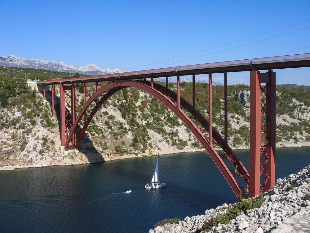 Metal bridge across Maslenica - Croatia curve