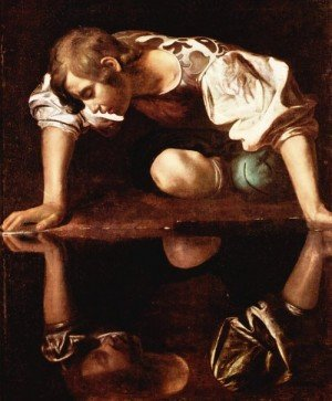 Narcissus By Caravaggio The painting depicts the Roman myth in which a boy named Narcissus falls in love with his own reflection, only to be driven mad to commit suicide. Source: Wikipedia
