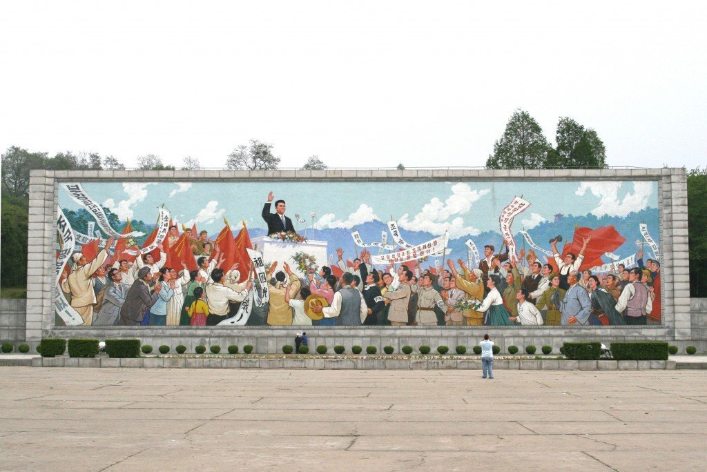 A mural of Kim Il-Sung giving speech in Pyongyang. Source: Wikipedia