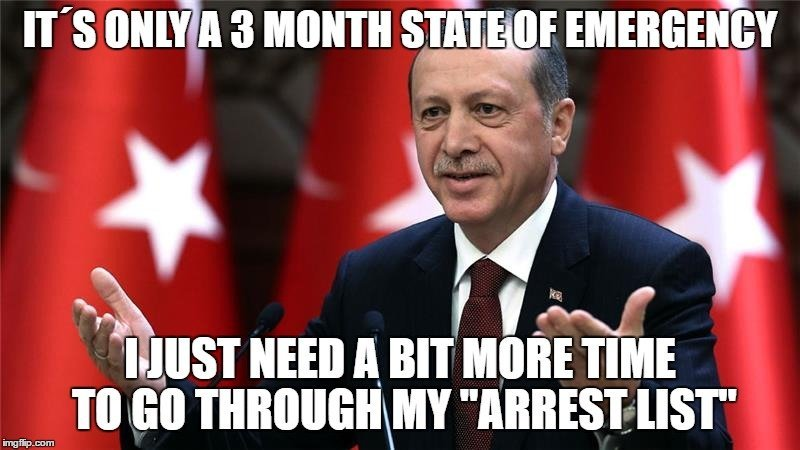 Erdogan, the leader of Turkey, announces a state of emergency. Needless to say, the international community was not amused.