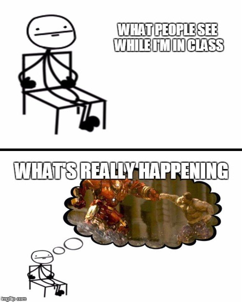 Dreaming in class meme