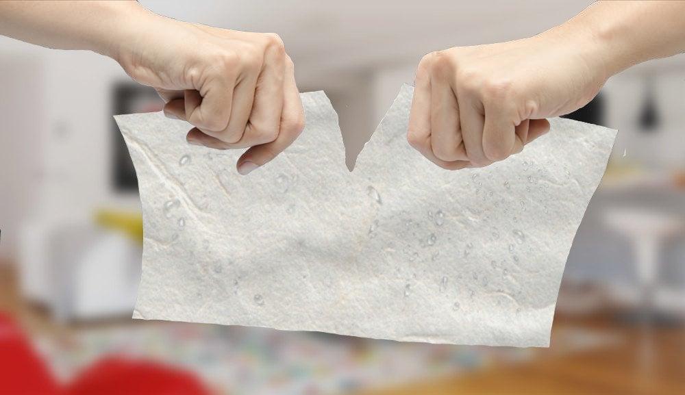 Tearing wet paper