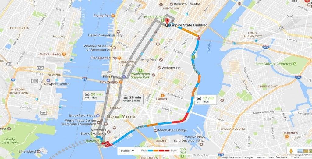 Google Traffic map Boston to Manhattan1