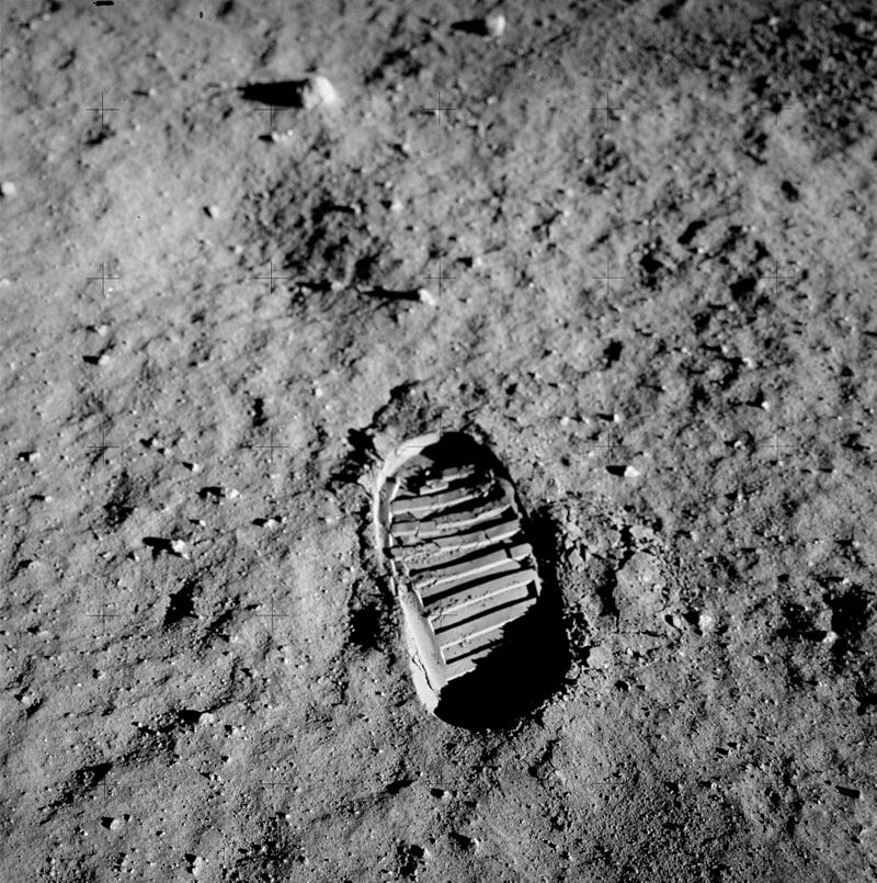bootprint on moon