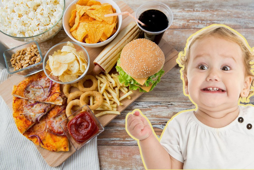 Baby excited by junk food