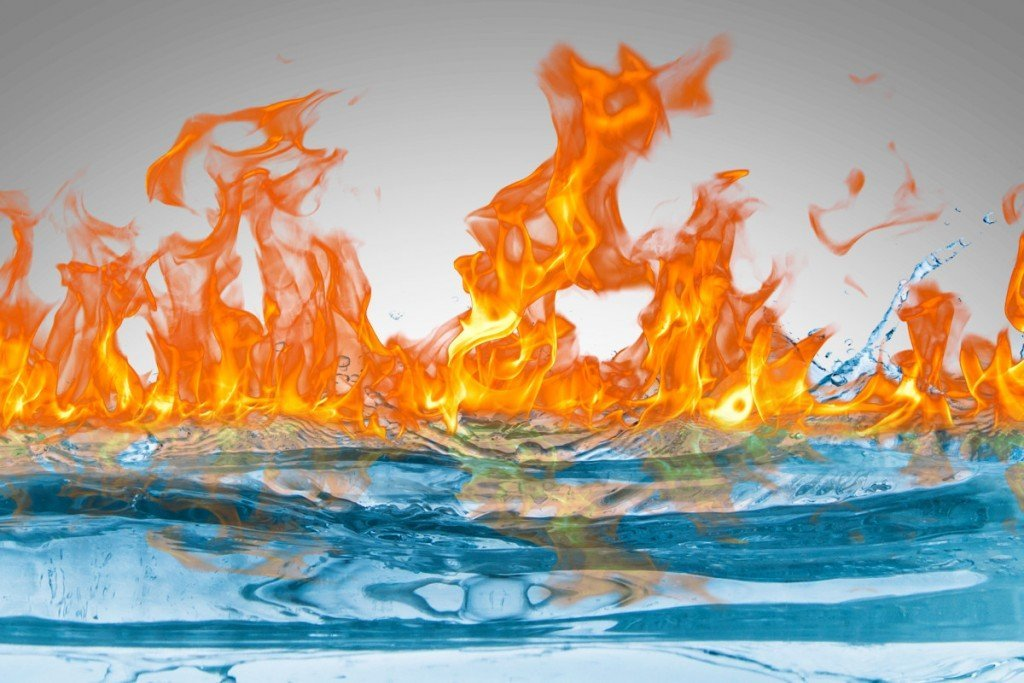Fire burning water
