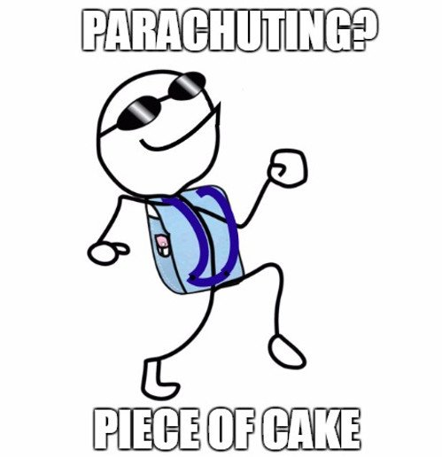 Parachuting piece of cake
