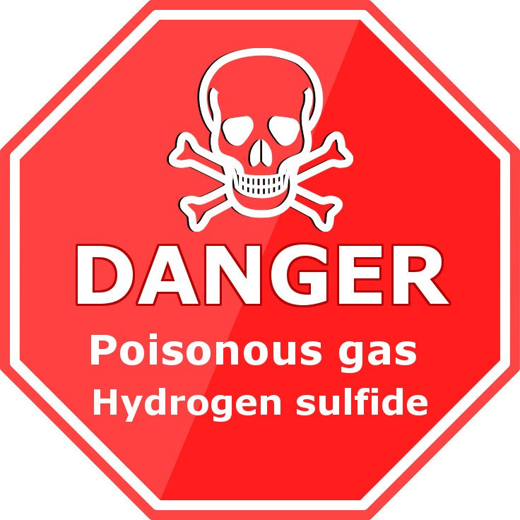 Danger sign poisonous gas hydrogen sulfide