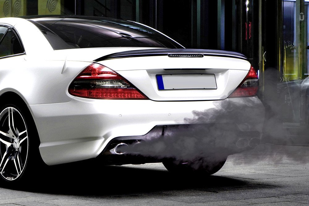 Shiny white Car exhaust