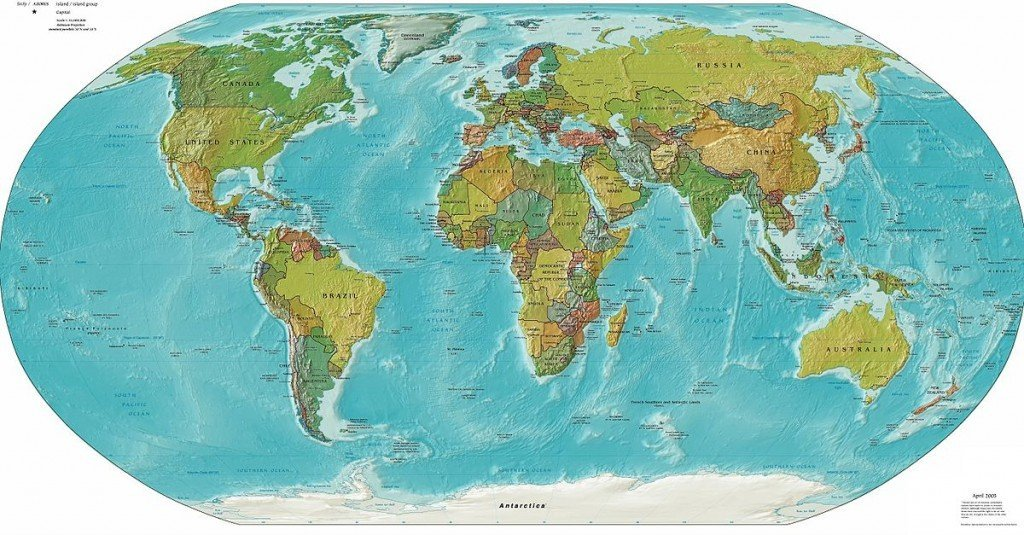 A Mercator projection of the world.