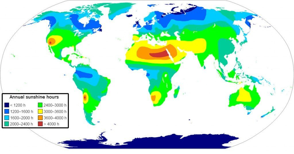 Map of yearly sunshine hours in the world