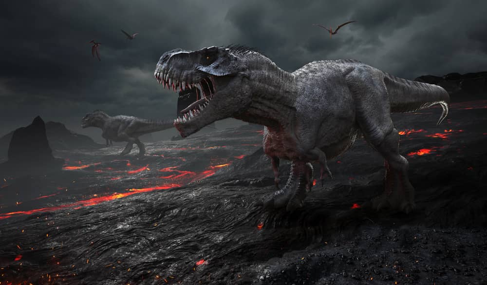 3D rendering of the extinction of the dinosaurs.