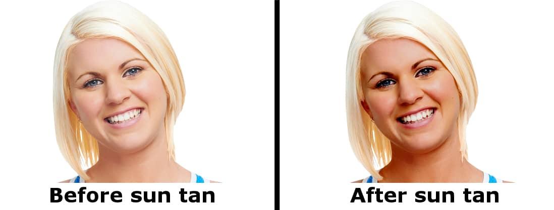 After suntan before suntan girl