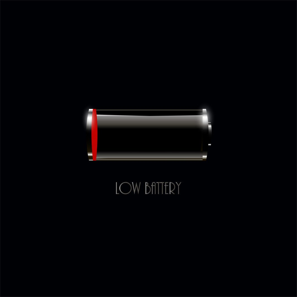 Low battery icon on black background for web and mobile(Street7studio)s