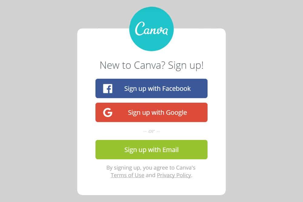 Canva login with facebook