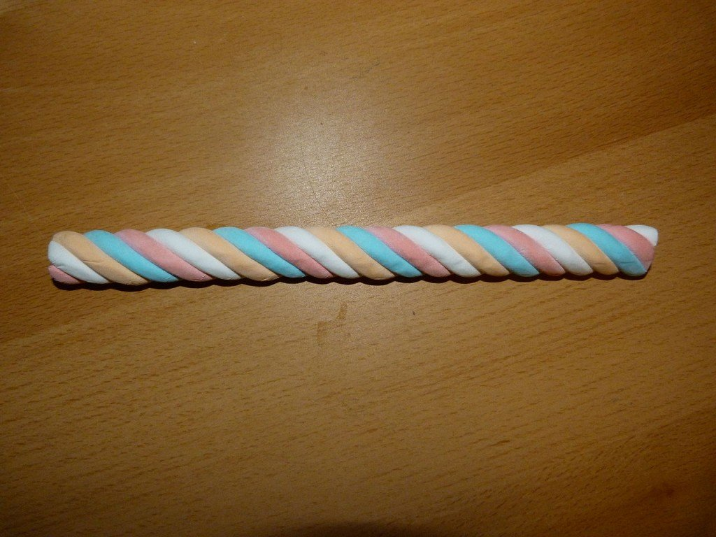 Colourful twisted marshmallow