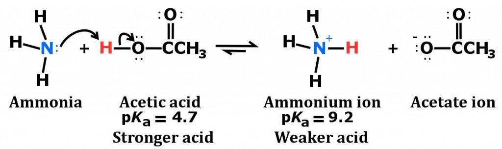 Ammonia plus acetic acid reaction