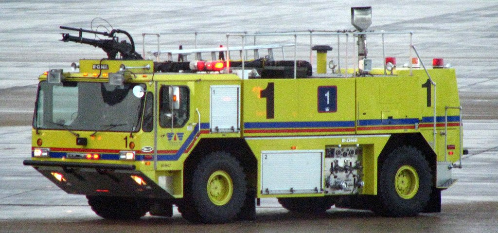 Yellow and green fire truck