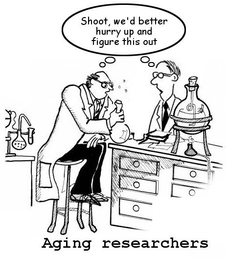Scientist joke on aging researchers