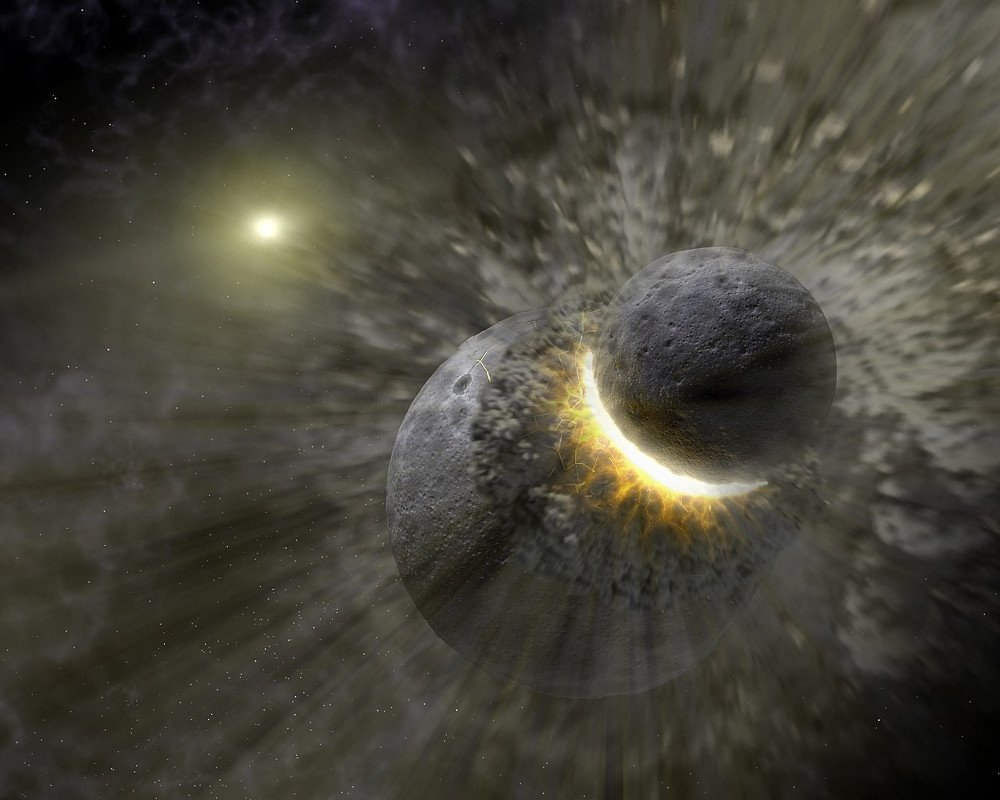 Earth moon explosion