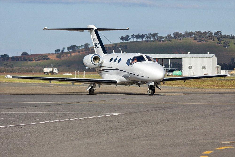 Skypac Aviation (VH-NEQ) Cessna 510 Citation Mustang taxiing at Wagga Wagga Airport