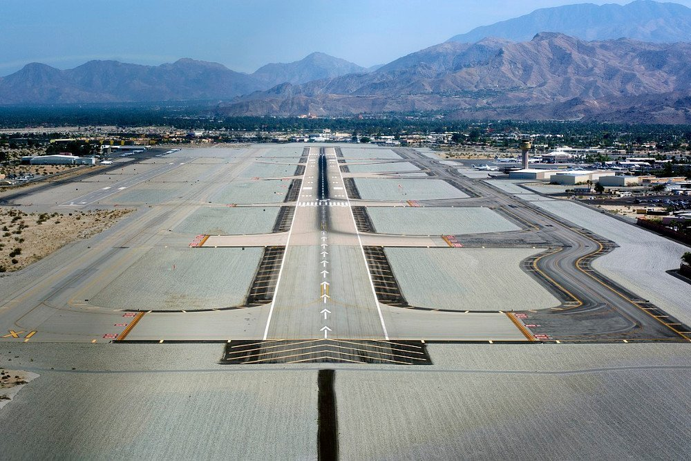 Taxiways at airport A runway at Palm Springs International Airport