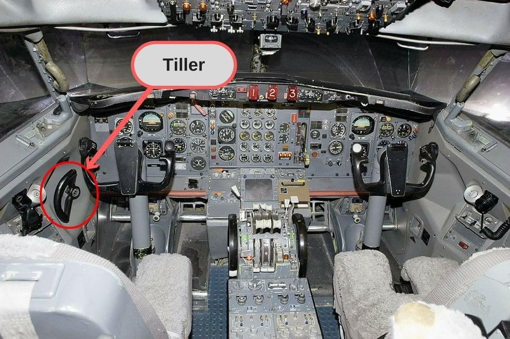 Tiller in cockpit