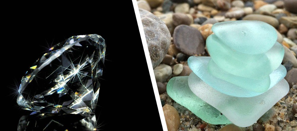 Sparkling diamond & beautiful sea glass