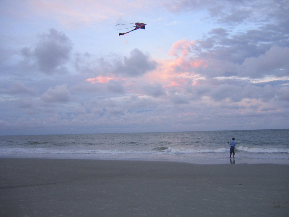 Man flying kites